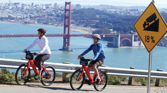 Electric bike riders conquering the hills in the Marin Headlands