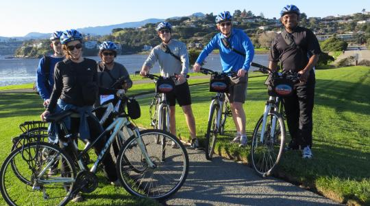 Group of bikers celebrating in Tiburon after a great ride