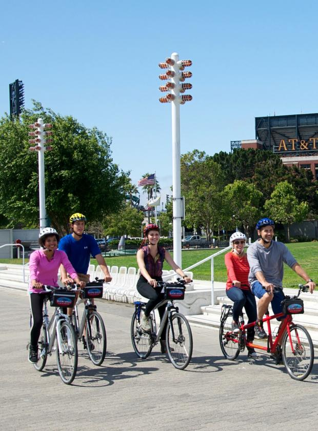 Group of bikes riding in front of AT&T Park in San Francisco