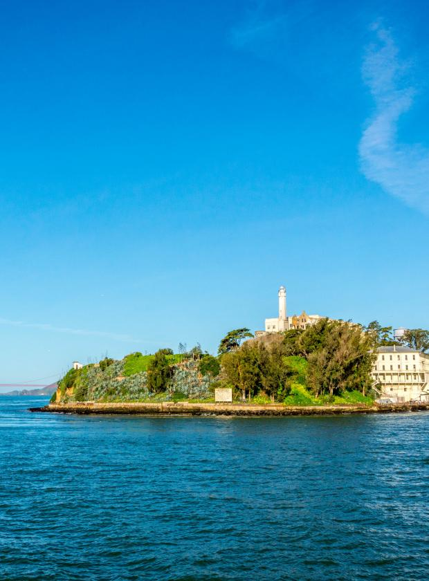 Stunning Alcatraz Island on a perfect summer day