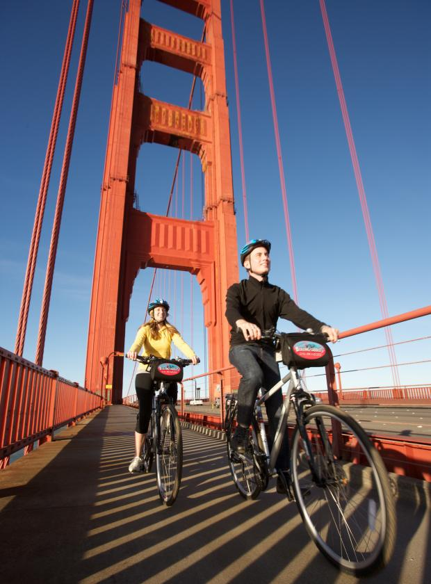 Biking on Golden Gate Bridge