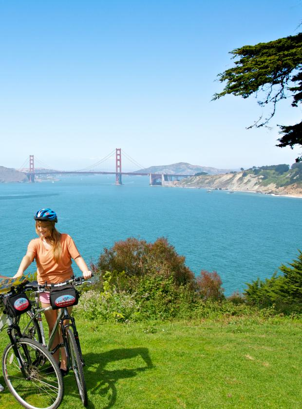 Bikers enjoying the stunning views of the Golden Gate Bride and the Pacific Ocean from Land's End