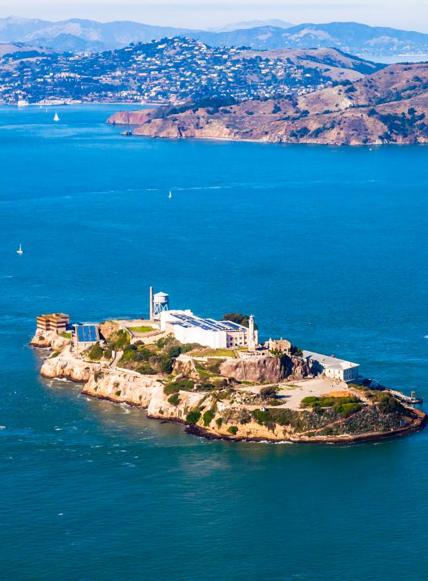 Stunning overview of Alcatraz Island with Angel Island and Tiburon in the background