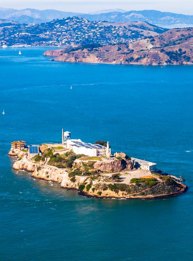 Stunning Alcatraz Island seen from above with Angel Island and Tiburon in the background