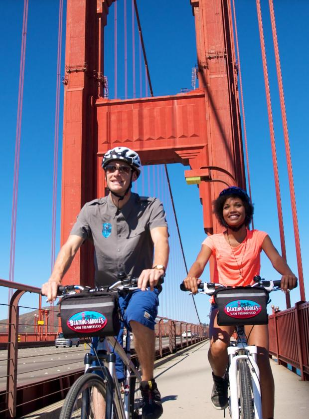 Riding across the Golden Gate Bridge!