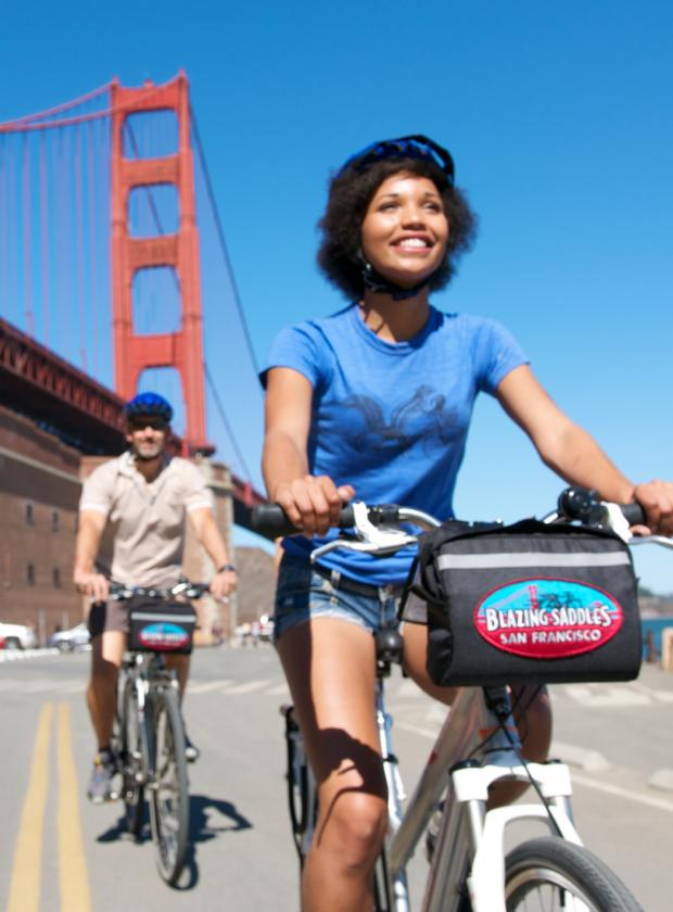 Biking from Fort Point to Golden Gate Bridge