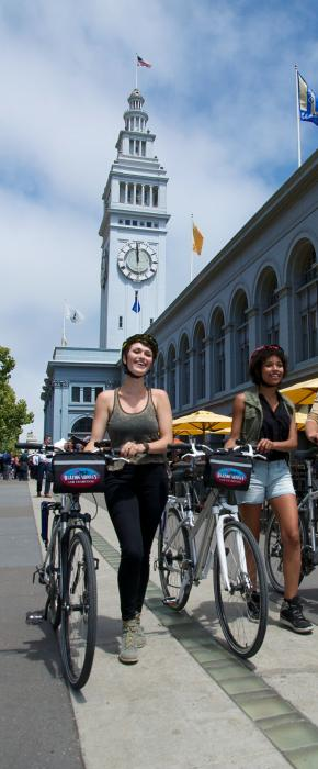 Bikers exploring the sight and sounds at San Francisco's Ferry Building