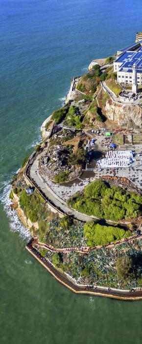 Picturesque Alcatraz Island as seen from above